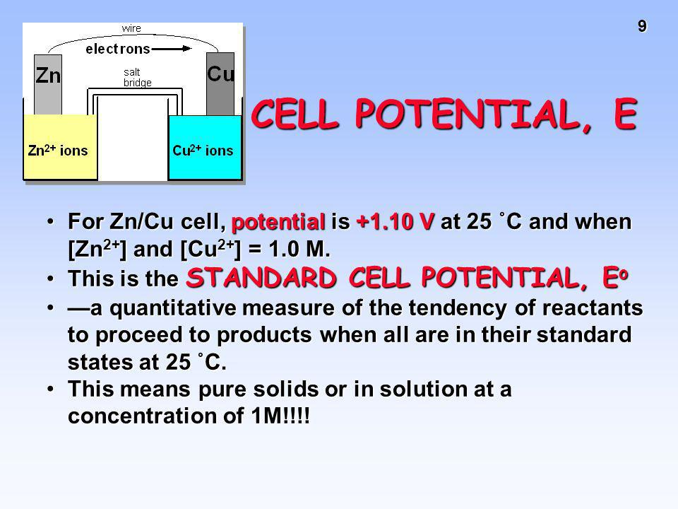 CELL POTENTIAL, EFor Zn/Cu cell, potential is +1.10 V at 25 ˚C and when [Zn2+] and [Cu2+] = 1.0 M. This is the STANDARD CELL POTENTIAL, Eo.